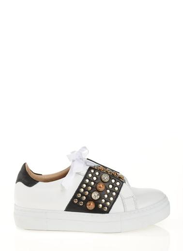 D by Divarese % 100 Deri Sneakers  Beyaz